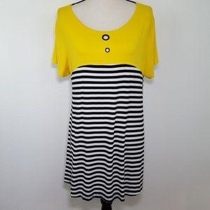 MAX & RINA Yellow, Black & White Tunic Top, XL